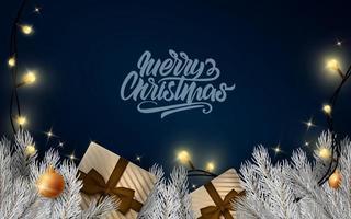 Merry Christmas lettering banner vector