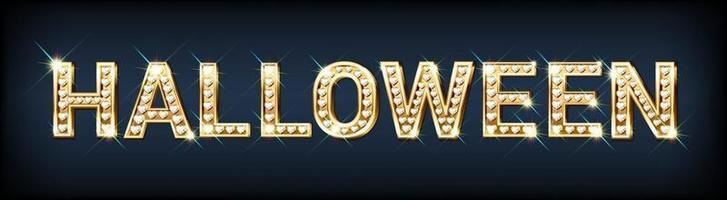Festive banner HALLOWEEN made of gold letters diamonds vector