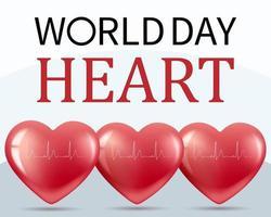 Banner World Heart Day 29 September. Realistic illustration. vector