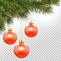 Template  New Year card Christmas tree and a Christmas red balls vector
