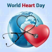World Heart Day. Realistic style banner. Red heart phonendoscope vector