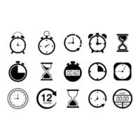 Time and clock icon set. isolated on white background vector