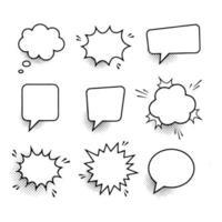 Retro empty comic speech bubbles set with black halftone shadows vector