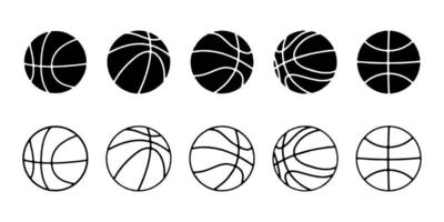 basketball icon set in line style, Vector illustration