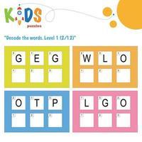 Decode the hidden words. Easy logical printable worksheet vector
