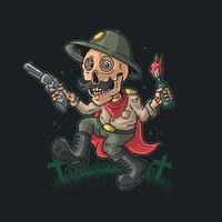 funny skeleton bring revolver and molotov illustration vector
