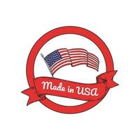 Made is USA label with hand drawn United States flag. vector