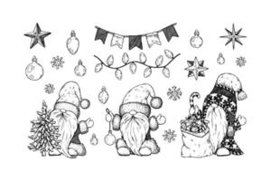Set of hand drawn cute Christmas decoration and gnomes. vector