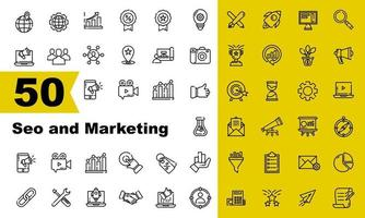 50 Vector seo and marketing Outline icon set user friendly