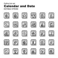30 illustration icon pack calendar and date event moment vector