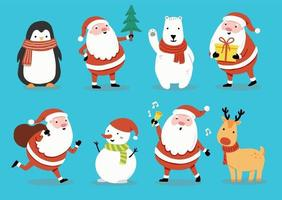 Set cartoon character with Santa and animal, snowman illustartion vector