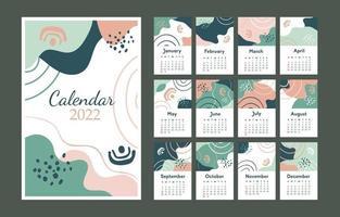 2022 Calendar Template Green vector