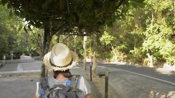 vue arrière femme randonneuse avec sac à dos marchant dans un parc naturel video
