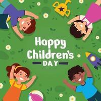 concepto de fondo del día del niño feliz multicultural vector