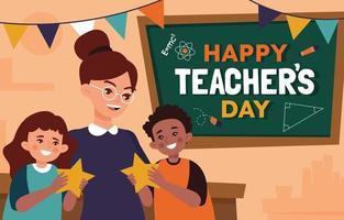 Student Appreciate Their Teacher in Teacher's Day vector