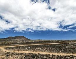 Arid volcanic dry landscape near El Medano in interior Tenerife island Spain photo