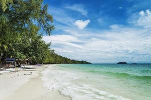 Quiet empty paradise beach in Koh Rong island near Sihanoukville Cambodia photo