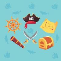conjunto de iconos piratas vector