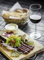 Organic smoked French charcuterie meats and pate tapas snack platter set photo
