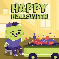 Zombie Costume Boy Collecting Candies Concept vector