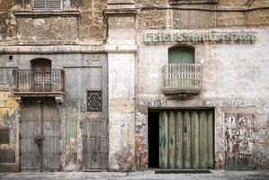 Vintage retro design architecture in La Valletta old town street Malta photo