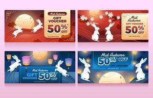 Two Rabbit Celebrating Mid Autumn Gift Voucher vector