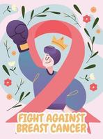 A Survival Girl Fight Against Breast Cancer vector