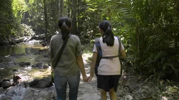 Girl and her mother walking together along stream in tropical forest video