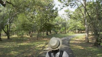 vue arrière femme avec sac à dos marchant sur la route dans un parc public video