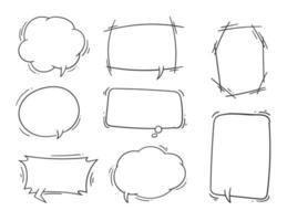 Set of hand-drawn speech bubble line-art vector