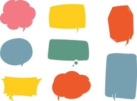 Set of hand drawn speech bubble in colorful shades vector