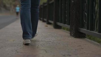 Woman legs wears jeans walking on the footpath along the road video