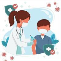 joven recibiendo la vacuna covid 19 vector