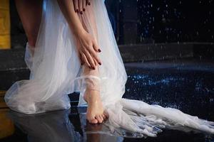 Female legs in the water with splashes photo