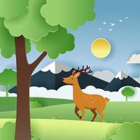 Nature with Paper Craft Concept vector