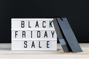 Black Friday sale. Label and lightbox on dark background. photo