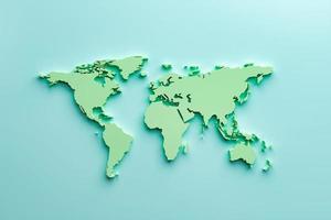 Mapa del mundo 3d sobre fondo azul foto