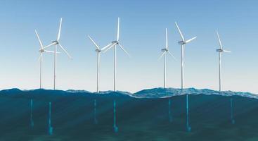 turbinas de molino de viento sobre el mar. foto