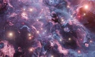 Blue and red abstract nebula with bright stars photo