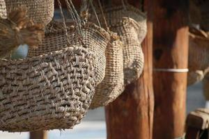Korea traditional hand made wicker basket texture. photo