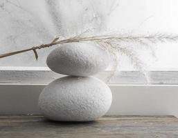 Dried rushes on top of two white pebble stone. photo