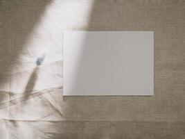 Invitation card mockup with blank greeting card template, flat lay photo
