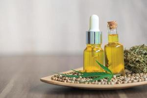 CBD oil hemp products for medical research. Herbal medicine. photo