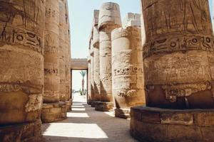 Columns with hieroglyphs in Karnak Temple at Luxor, Egypt. travel photo
