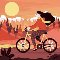 Girl Riding a Bike in the Mountain vector