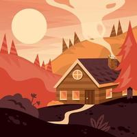 Autumn Landscape of Cabin in the Mountain vector