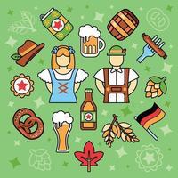 Outline Oktoberfest Icons vector