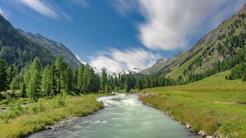 río que fluye hacia abajo desde un glaciar en los alpes suizos foto