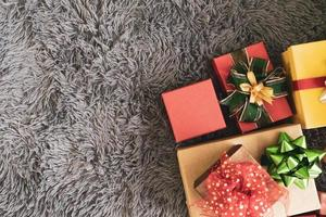 Colorful presents on gray background photo