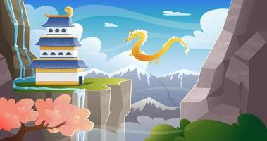 Asian mountain landscape with castle and gold  dragon on sky vector
